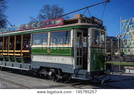 Vintage Style Tram On The Christchurch Tramway