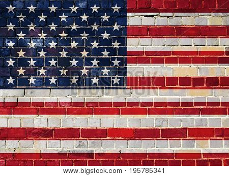United States of America flag on an old brick wall background