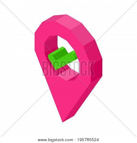 Pink geolocation symbol with check mark inside circle isolated vector illustration on white background. Social media sign for location definition.