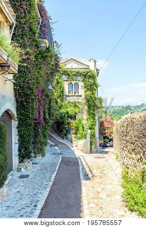 Vine covered homes along ancient street in St. Paul de Vence Provence France