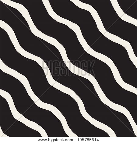 Seamless pattern with hand drawn waves. Abstract background with wavy brush strokes lattice. Black and white freehand lines texture.