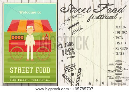 Street Food and Fast Food Truck Festival - Hot Dog Stall. Template Design. Retro Poster on White Wooden Background with Text. Vector Illustration.