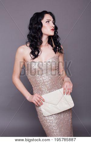 beautiful stylish girl cocktail dress handbag