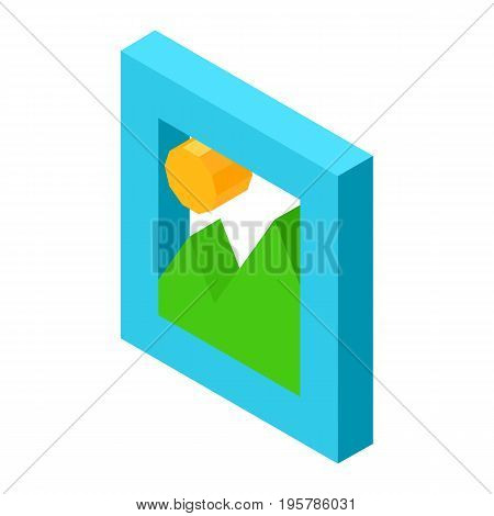 Gallery icon with minimalist landscape for mobile devices isolated 3D vector illustration on white background. Symbol for access to personal gallery images
