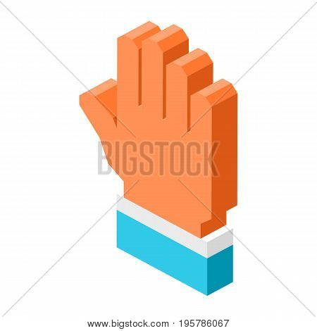 Open human palm icon isolated 3D cartoon vector illustration on white background. Symbol of hand with blue suit sleeve that shows welcome gesture.