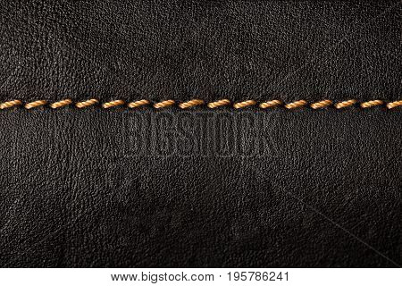 Black Leather Texture Background With Orange Seams