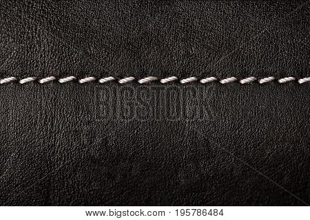 Black Leather Texture Background With White Seams