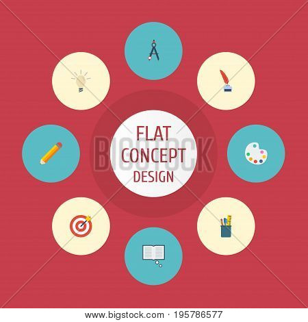 Flat Icons Compass, Concept, Pen And Other Vector Elements