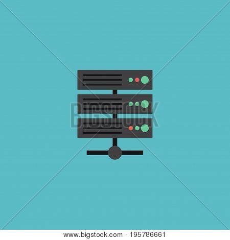 Flat Icon Server Element. Vector Illustration Of Flat Icon Datacenter Isolated On Clean Background