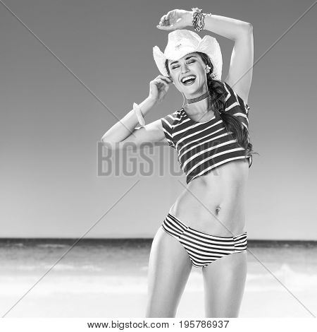 Happy Active Woman On Seacoast Listening To The Music