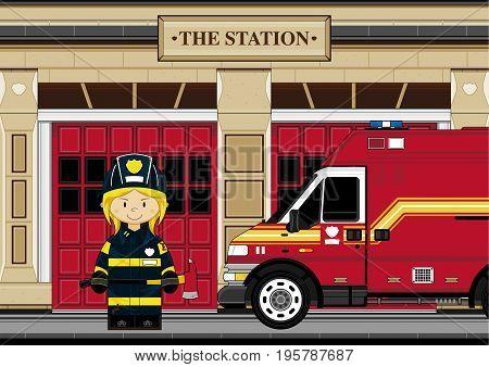 Cute Fire Station Scene