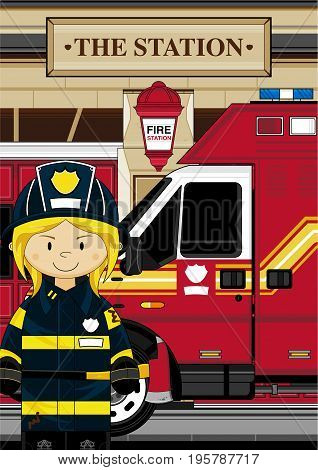 Cute Firefighter Scene