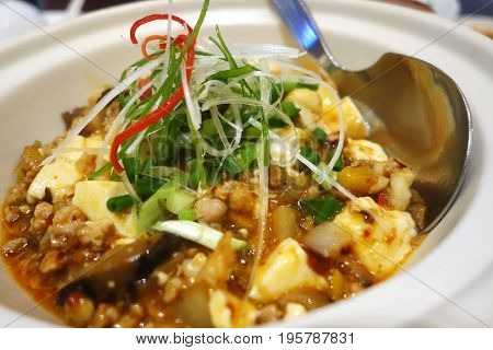 Tofu And Mince With Hot Spicy Sauce