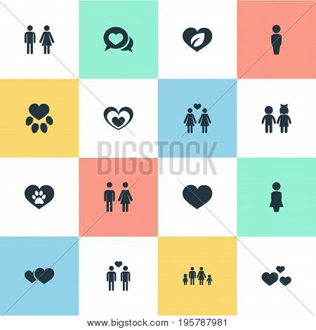 Vector Illustration Set Of Simple Valentine Icons