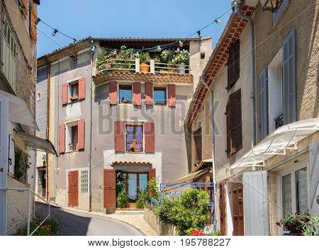 Narrow angle street in Valensole. Alpes de Haute Provence France