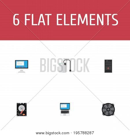 Flat Icons Hard Disk, Storage Device, Laptop And Other Vector Elements