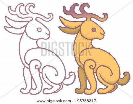 Illustration of a jackalope, a mythical animal of North American folklore jackrabbit with antelope horns or deer antlers - cartoon style isolated background.