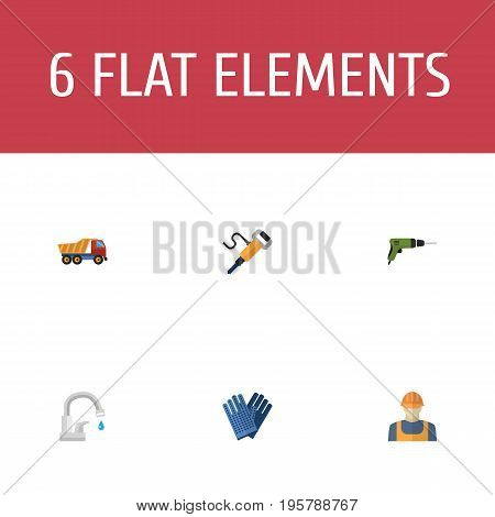 Flat Icons Van, Electric Screwdriver, Mitten And Other Vector Elements