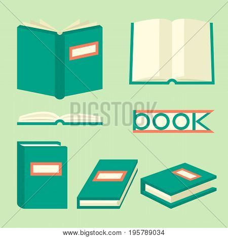 Book isometric signs and symbols. Education concept in flat style with different books. Book set in flat design style. Open graphic book for reading. Students book. Vector illustration