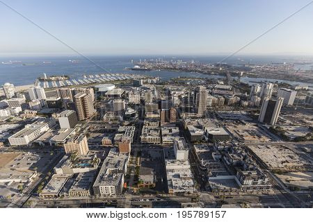 Aerial view of downtown Long beach in Los Angeles County, California.