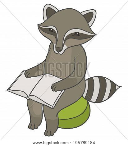 Vector illustration - raccoon sitting on stool ottoman and reading book