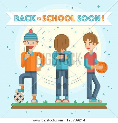 Back to school soon leaflet, banner with group of happy teenagers having fun. Playing basketball, football and phone games and enjoying time together. Teenagers activities in vector.