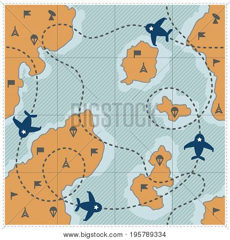 Map in frame with dotted route, airplanes and military signs. Vintage map with parachute, tower, flag, antenna, item. Vector ullistration