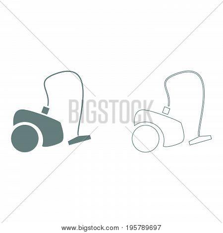 Vacuum cleaner  it is grey  set icon .