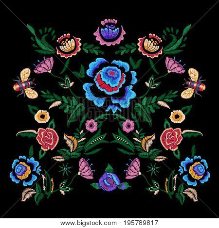 Embroidery folk pattern with fantasy simplify flowers. Vector embroidered floral patch for clothing design.
