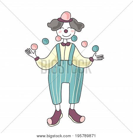 Cute circus performer. Man clown juggling balls. Vector illustration, isolated on white background.