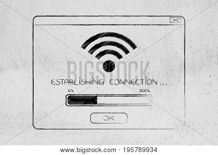 Pop-up With Wi-fi Connection Establishing And Progress Bar
