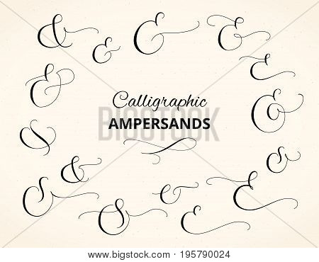 Set of custom decorative ampersands. Hand written calligraphy, vector illustration. Great for wedding invitations, cards, banners, photo overlays and other design.