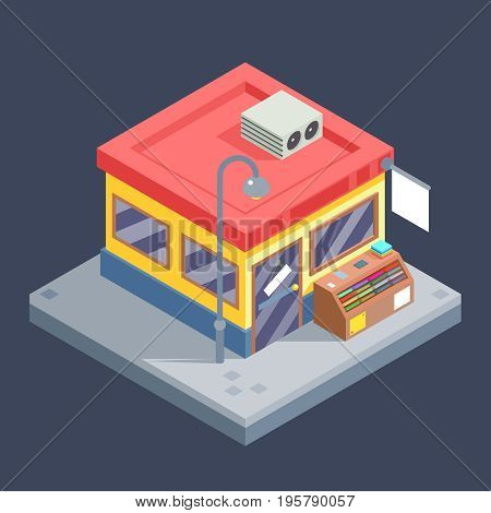 Isometric Shop Business Sell Goods Offer Sale Store Market Building Flat Icon Design Vector Illustration
