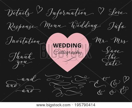 Wedding hand written custom calligraphy set on black. Save the date, love, thank you, menu words. Great for wedding invitations design, cards, banners, photo overlays.