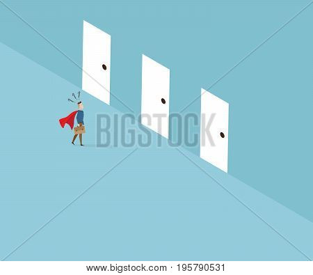 businessman with red cape standing and confused to select doors business leader concept cartoon vector illustration