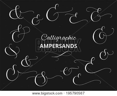 Set of custom decorative ampersands, white on black background. Hand written calligraphy, vector illustration. Great for wedding invitations, cards, banners, photo overlays and other design.