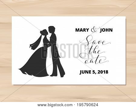 Save the date card on wooden vector background.  Bride and groom silhouettes and hand written custom calligraphy isolated on white. Wedding invitation template. Free font used - Open Sans.