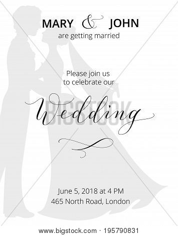 Wedding invitation with bride and groom silhouettes and hand written custom calligraphy. Save the date card template. Free font used - Open Sans.