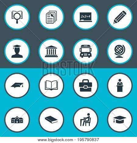 Vector Illustration Set Of Simple School Icons