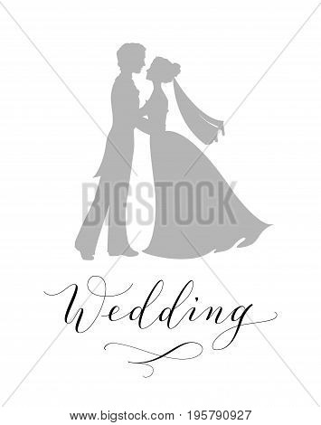 Wedding design concept. Bride and groom silhouettes and hand written custom calligraphy isolated on white. Can be used for wedding invitations, posters, photo overlays, stencils.