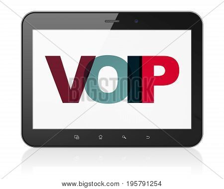 Web design concept: Tablet Computer with Painted multicolor text VOIP on display, 3D rendering