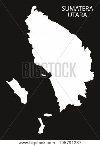 Sumatera Utara Indonesia Map Black Inverted Silhouette Illustration Shape