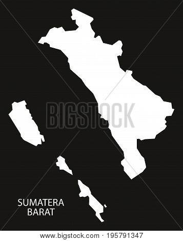 Sumatera Barat Indonesia Map Black Inverted Silhouette Illustration Shape