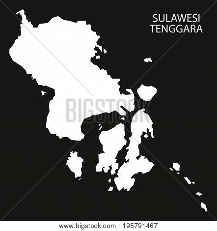Sulawesi Tenggara Indonesia Map Black Inverted Silhouette Illustration Shape