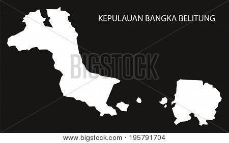 Kepulauan Bangka Belitung Indonesia Map Black Inverted Silhouette Illustration Shape