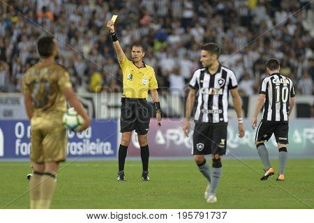 Rio, Brazil - july 17, 2017: Ricardo Marques Ribeiro - MG (FIFA)  referee in match between Botafogo and  Sport by the Brazilian championship in Nilton Santos Stadium