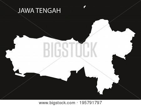 Jawa Tengah Indonesia Map Black Inverted Silhouette Illustration Shape