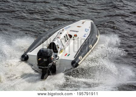 Riga, LV - JULY 16, 2017: World Championship RIB 2017 Powerboat 20