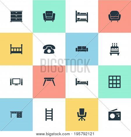 Vector Illustration Set Of Simple Furniture Icons