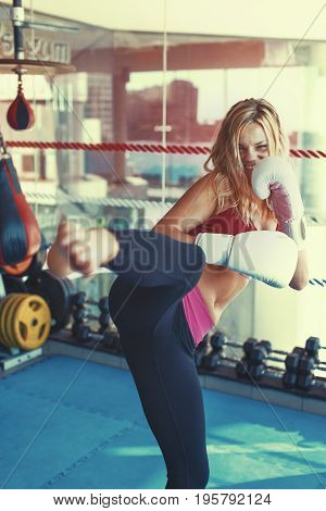 Young martial artist woman kicking in gym into camera exercise color graded